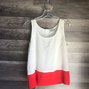 Chloe K Color Block Blouse Orange/ White M EUC